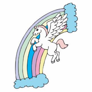 diseño lindo de Pegaso y del arco iris Fotoescultura Vertical