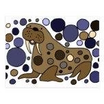 Diseño lindo del arte abstracto de la morsa tarjetas postales