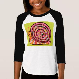 Diseño lindo del caracol en chicas 3/4 camiseta de