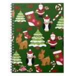 Diseño lindo del collage del navidad con Santa Note Book