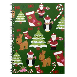 Diseño lindo del collage del navidad con Santa Cuaderno