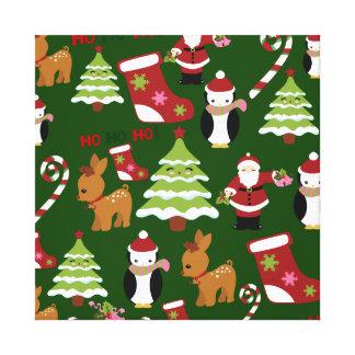 Diseño lindo del collage del navidad con Santa Impresión En Lona