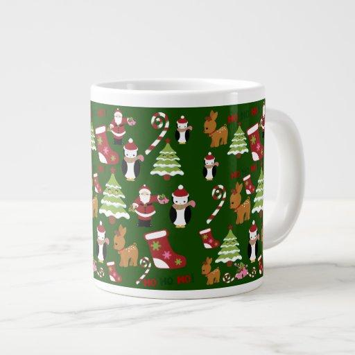 Diseño lindo del collage del navidad con Santa Taza Grande