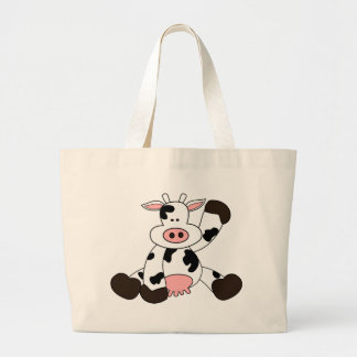 Diseño lindo del dibujo animado de la vaca bolsas de mano