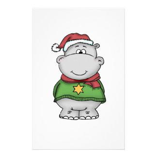 Diseño lindo del hipopótamo del navidad papeleria de diseño