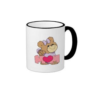 diseño lindo del oso de peluche de la mamá del día tazas de café