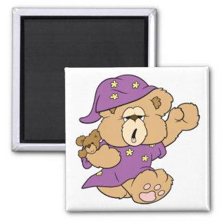 diseño lindo del oso de peluche de la noche soñoli imán cuadrado