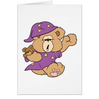 diseño lindo del oso de peluche de la noche tarjeta de felicitación