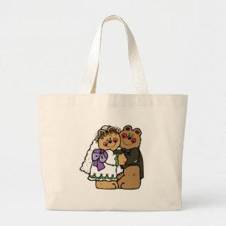 diseño lindo del oso de peluche de novia y del nov bolsa tela grande