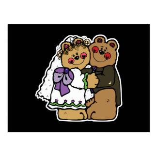 diseño lindo del oso de peluche de novia y del tarjetas postales