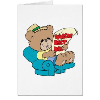 diseño lindo del oso de peluche del día de padres  tarjeta