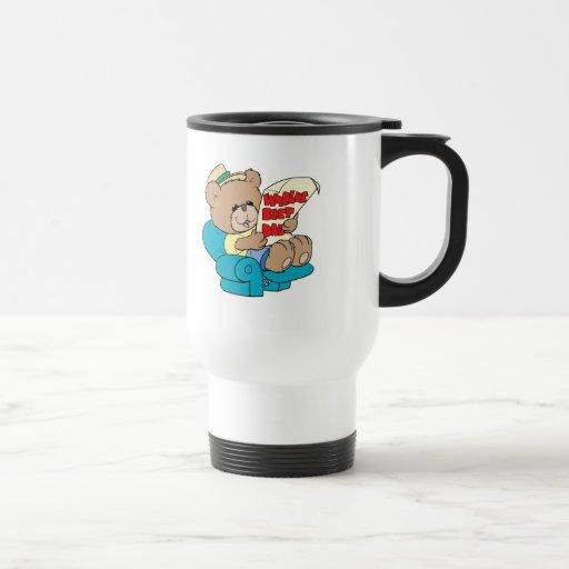diseño lindo del oso de peluche del día de padres taza de viaje de acero inoxidable