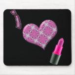 Diseño lindo estupendo del lápiz labial del amor d tapete de ratón