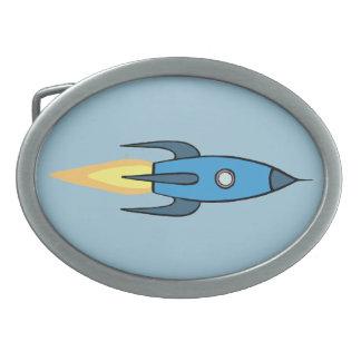 Diseño lindo retro azul del dibujo animado de hebillas cinturón ovales