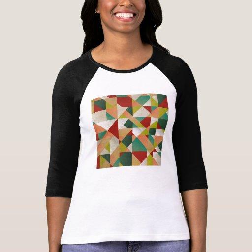 Diseño linear coloreado multi abstracto camisetas
