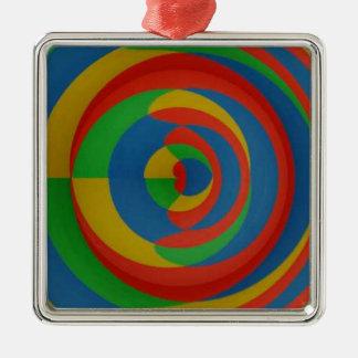 diseño llamativo colorido adorno navideño cuadrado de metal