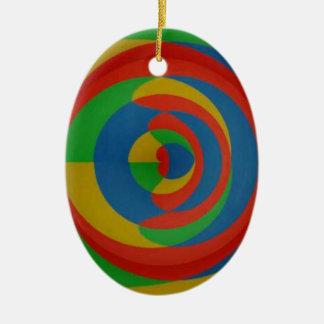 diseño llamativo colorido adorno navideño ovalado de cerámica