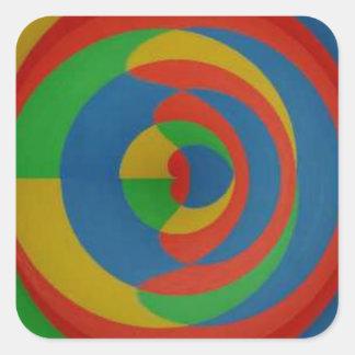 diseño llamativo colorido pegatina cuadrada