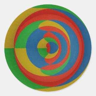 diseño llamativo colorido pegatina redonda