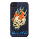 Diseño llameante del cráneo de Badass medio iPhone 4 Carcasa