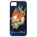 Diseño llameante del cráneo de Badass medio iPhone 5 Case-Mate Coberturas