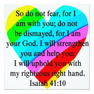 DISEÑO LLENADO AMOR DEL 41:10 DE ISAÍAS INVITACIÓN 13,3 CM X 13,3CM