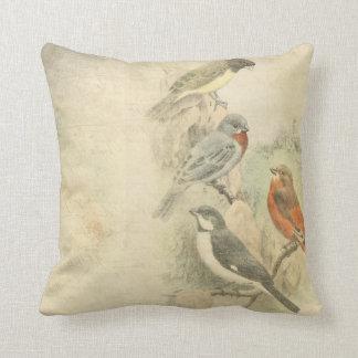 Diseño llevado pájaros del vintage cojin