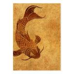 Diseño llevado vintage de los pescados de Koi Tarjeta De Visita