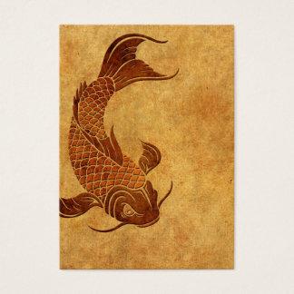 Diseño llevado vintage de los pescados de Koi Tarjeta De Negocios