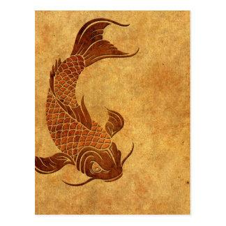 Diseño llevado vintage de los pescados de Koi Tarjeta Postal