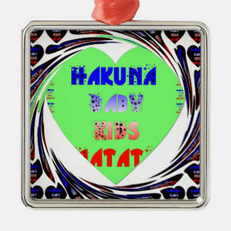 Diseño luminoso del niño del bebé de Hakuna Matata Adorno Cuadrado Plateado