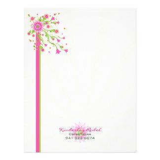 Diseño-Luz floral abstracta 2 del rosa y del verde Membrete A Diseño