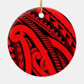 Diseño maorí coloreado hermoso del tatuaje de adorno redondo de cerámica