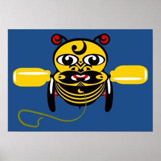Diseño maorí Nueva Zelanda del juguete de la abeja Póster