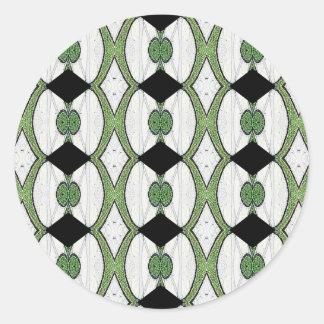 Diseño maravilloso de la materia textil antigua pegatina redonda