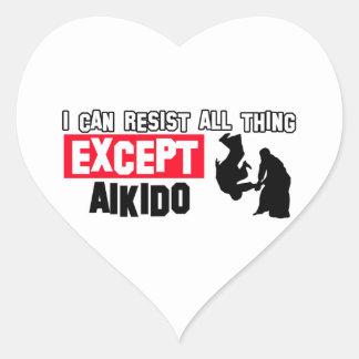 diseño marcial del aikido pegatina en forma de corazón