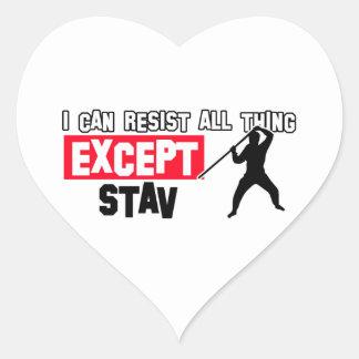 diseño marcial del stav pegatina en forma de corazón