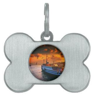 diseño marítimo de la puesta del sol de Estambul Placa Mascota