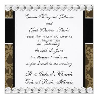 diseño marrón del damasco del devine del moreno de invitacion personalizada