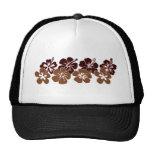 Diseño marrón fresco del hibisco gorras
