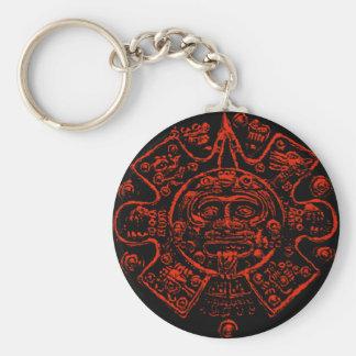 Diseño maya de la imagen del calendario llavero redondo tipo pin