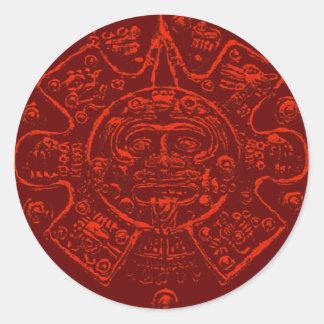 Diseño maya de la imagen del calendario pegatina redonda
