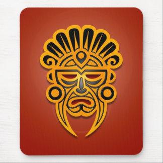 Diseño maya de la máscara (amarillo) tapete de raton