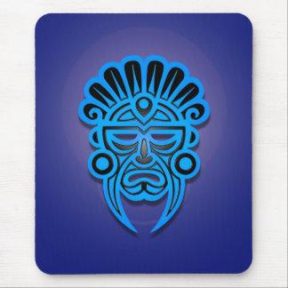 Diseño maya de la máscara (azul) alfombrilla de ratón