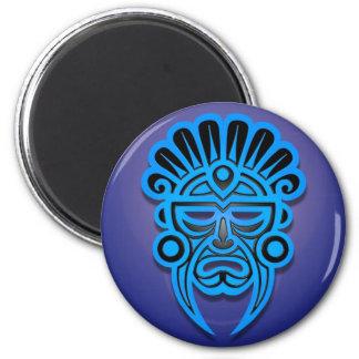Diseño maya de la máscara, azul imán redondo 5 cm