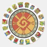 Diseño maya del calendario pegatinas redondas