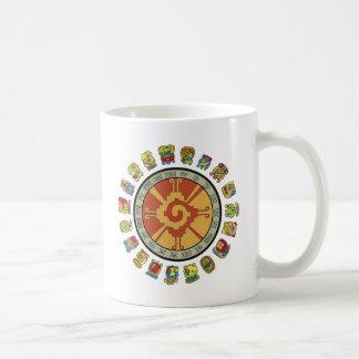 Diseño maya del calendario tazas de café