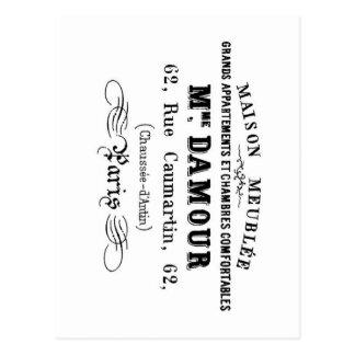 Diseño M'Damour de la tipografía del vintage Postal