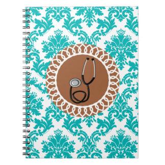 Diseño médico del estetoscopio del damasco spiral notebook