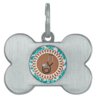 Diseño médico del estetoscopio del damasco placa de mascota